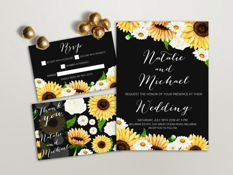 Sunflower Wedding Invitation Printable Daisy Wedding Invitation