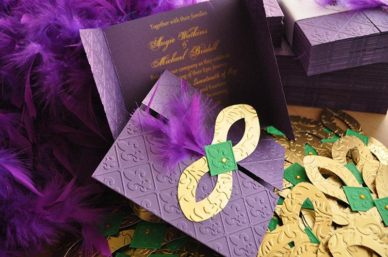 Mardi Gras Invitations / Wedding / Quinceanera / Bachelorette Party