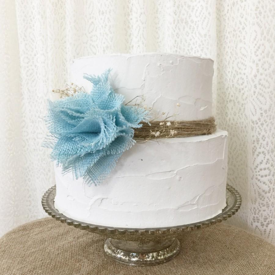 Burlap Cake Topper Idea Aqua Blue Flower Rustic Wedding Boho Chic Baby Shower Ideas Its A Boy