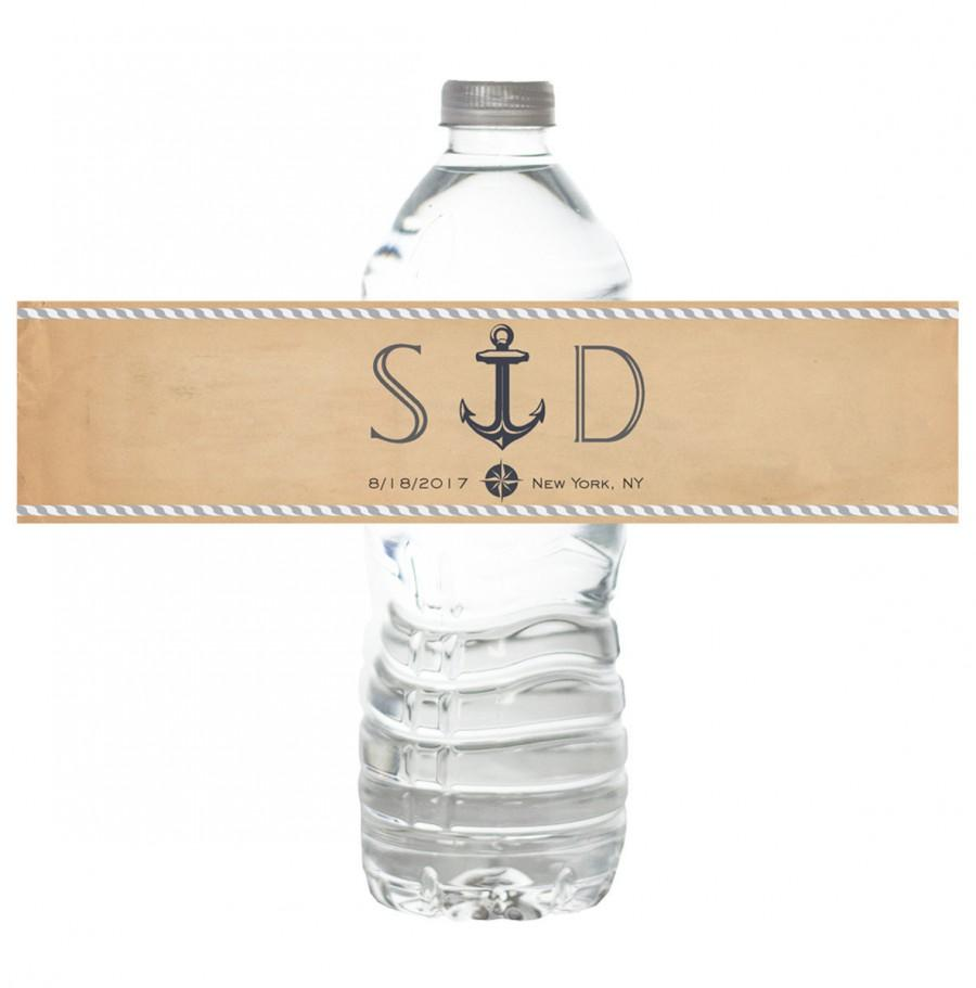 personalized water bottle labels bachelorette birthday wedding party bridal shower vintage nautical theme favor customizable custom stickers