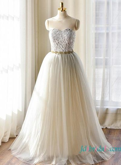 Wedding - H1641 Beautiful grey colored tulle wedding dresses 2016
