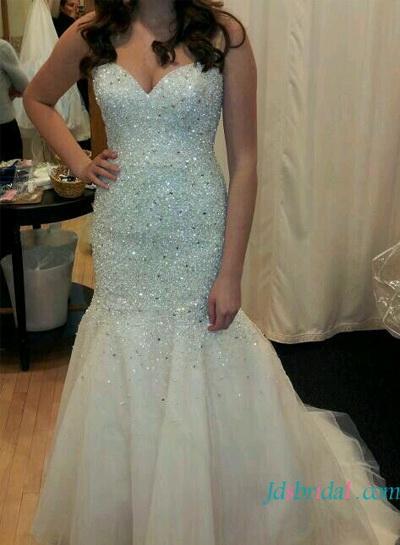 H1639 Sparkly Mermaid Wedding Dress With Sweetheart Neckline ...