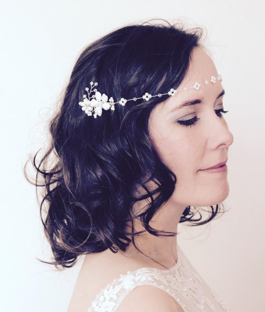 Wedding - Bridal headpiece, floral pearl forehead headband and comb, boho bride halo, wedding flower comb, bridal pearl headdress, boho hair accessory
