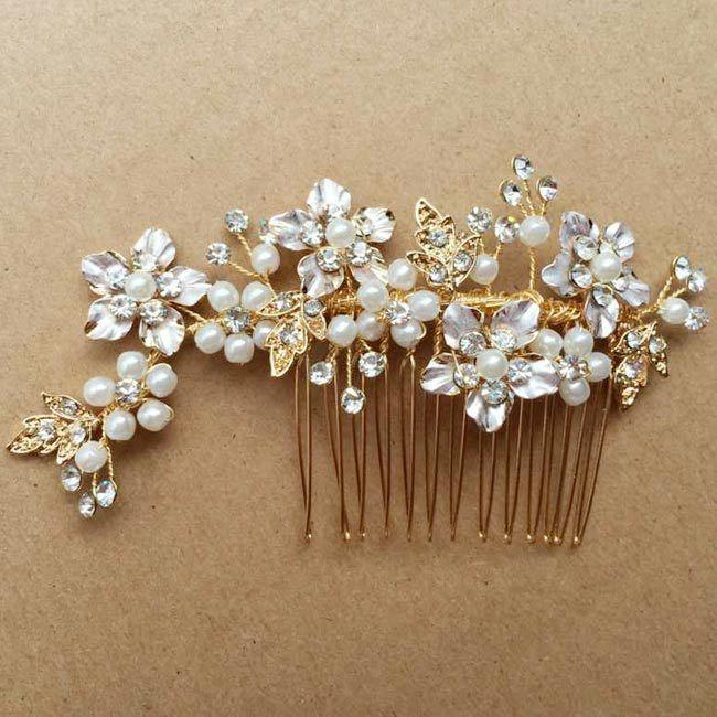 Свадьба - Gold Bridal Comb, Gold flower and leaf with pearls and crytal, Vintage Flower, Gold Wedding hair accessories, Bridal Headpieces