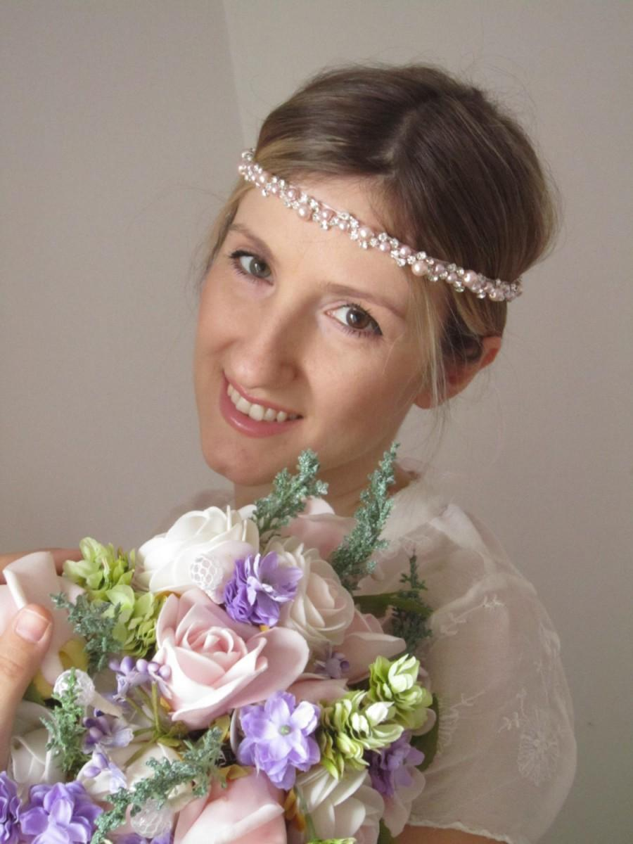 Soft Pink Pearl And Rhinestones Wedding Headband  7bc188d27eb