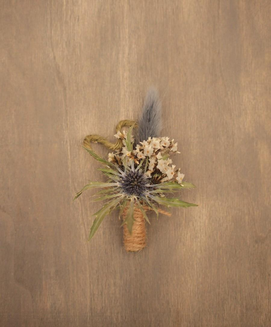 زفاف - Natural Dried Floral Rustic Wedding Boutonniere, Buttonhole, Thistle, Everlasting Keepsake