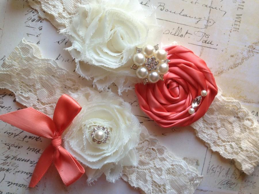 Свадьба - Coral Wedding Garter, Bridal Garter - Wedding Garter, Coral Bridal Garter, Coral Garter Set, Ivory Coral Garter, Coral Garter Belt, Garter