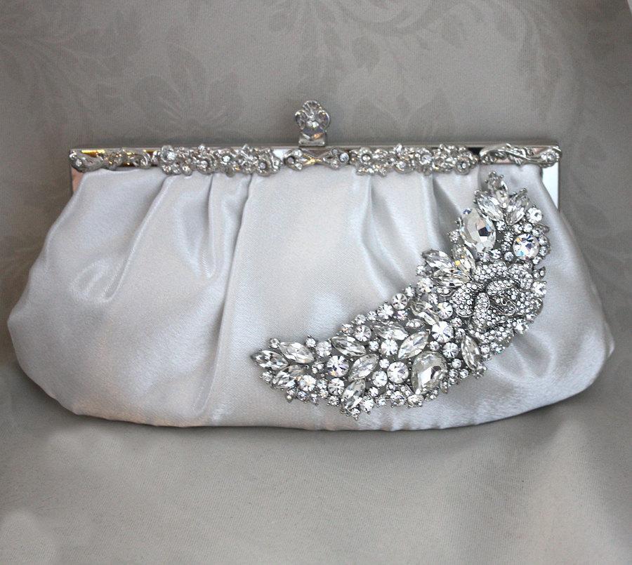 Wedding - Bridal Clutch -diamond white  satin with Swarovski Crystal brooch -ready to ship