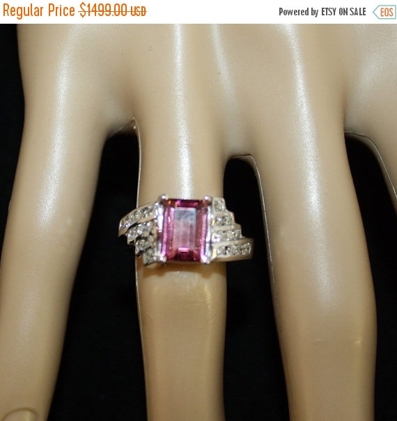 Wedding - Pink Tourmaline, Tourmaline Ring, Diamond Engagement Ring, Free Shipp/Appraisal Included