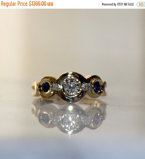 Mariage - 18K Natural, Untreated,  .30cts Ceylon Sapphire and VS .47ct Diamond Engagement Ring, Free Ship/Appraisal Included