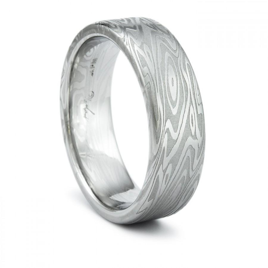 Damascus Ring Unique Mens Wedding Band Twisted Wood Grain Pattern On A Narrow Flat Comfort Fit Interior With Bold Hand Forged Design