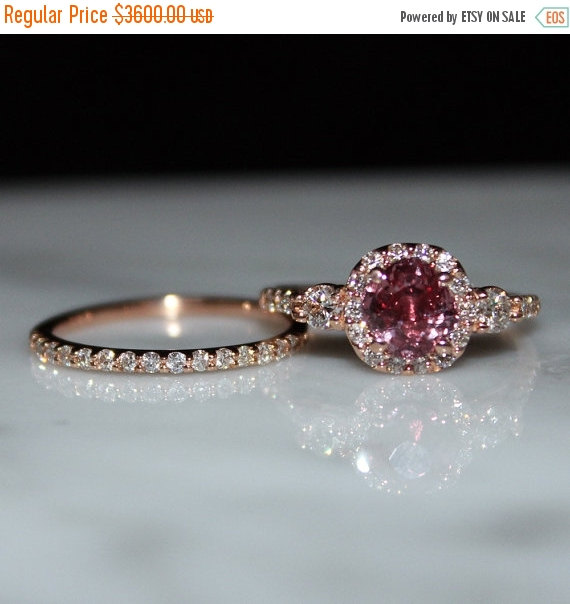 Sapphire Ring Pink Padparadscha Wedding Set Halo Engagement Free Shipping Appraisal Included