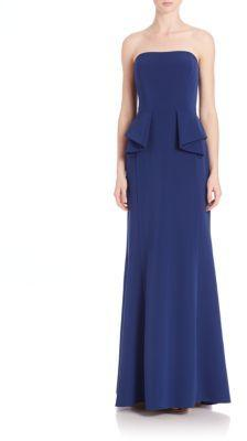 Wedding - Aidan Mattox Bridesmaids Strapless Peplum Gown