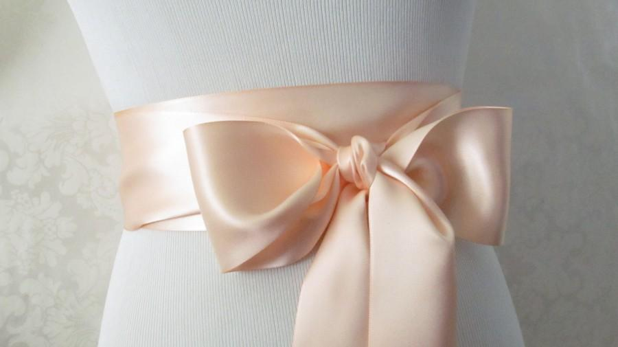 Mariage - Soft Peach Bridal Sash / Double Face Sash  Ribbon /  Ribbon Sash /  12ft / 9ft / 6 ft sash