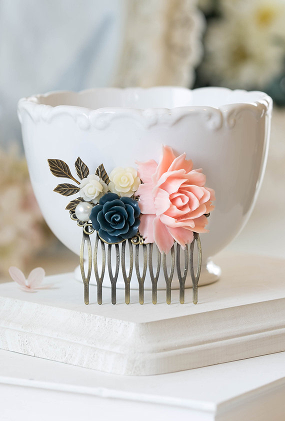 Wedding - Blush Pink Navy Dark Blue White Ivory Pearl Rose Flower Bridal Hair Comb Bridesmaid Gift Pink Navy Wedding Hairpiece Rustic Vintage