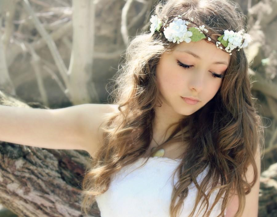 Wedding - Flower Crown Millinery Leafs , Woodland Wedding, Hair Flower, Whimsical Headband, fairy wedding bridal,  white - MARIA -