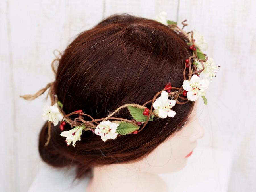Wedding - Wedding Floral Crown, Bridal Head Wreath, Flower Girl Wreath, Ivory Hair Crown, Woodland Floral Head Wreath