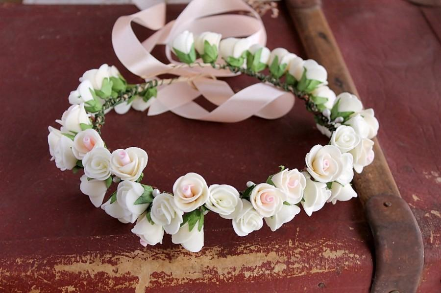 Mariage - Rose Crown, Boho Bridal Crown, Ivory Head Wreath, Flower Girl Halo, Woodland Crown, Flower Girl Crown, Ivory Rose Halo, Toddler Crown, Girls