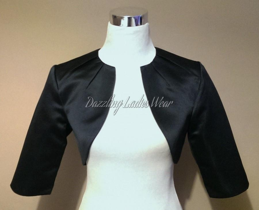 Wedding - Black Satin Bolero Fully Lined - UK 4-26/US 1-22 Shrug/Cropped Jacket/Wrap/Shawl/Stole/Tippet - Pleated neck