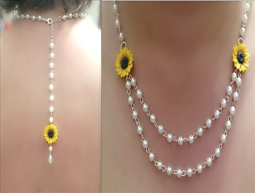 Hochzeit - Sunflower Necklace, Backdrop Necklace, Sunflower Jewelry, Gifts Yellow Sunflower Bridesmaid, Flower and Pearls Necklace, Bridesmaid Necklace