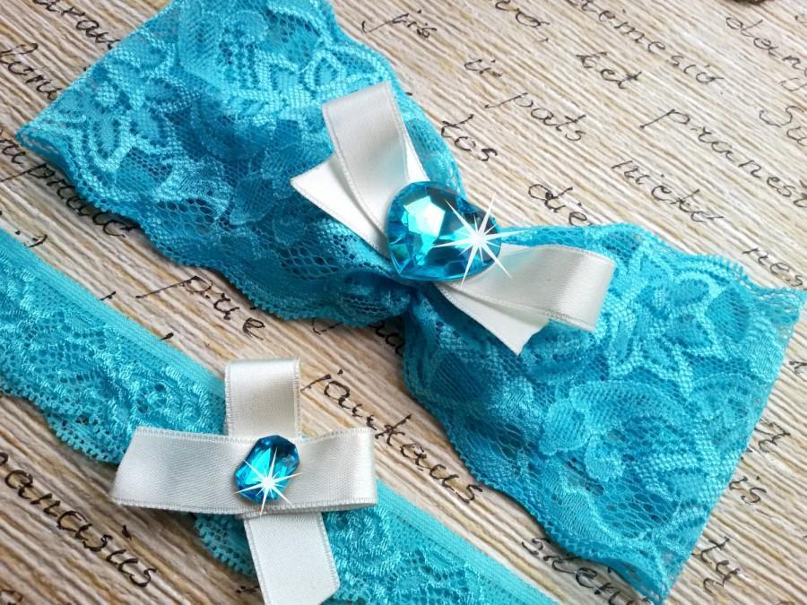 Hochzeit - Aqua wedding garter, blue garter, mint garter set, blush garter, crystal garter set, toss garter set, garter set, something blue garter