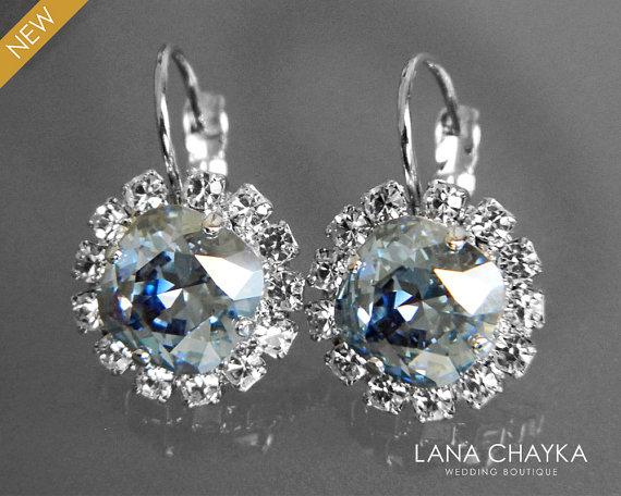 Blue Shade Crystal Halo Earrings Swarovski Rhinestone