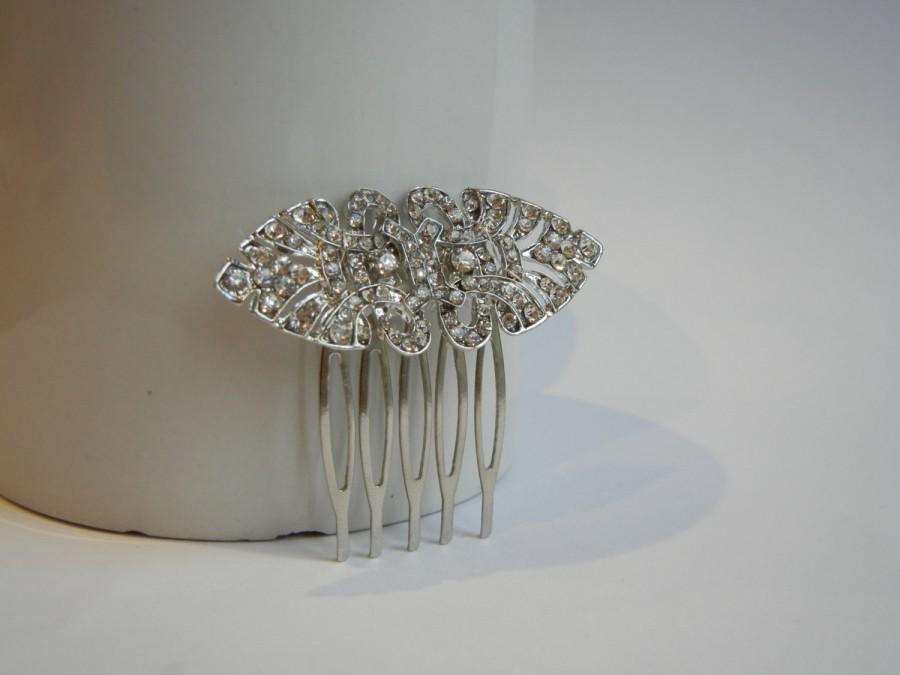 Mariage - Diamante Hair Comb, Art Deco Hair Comb, Bridal Hair Comb, Vintage Hair Comb, Rhinestone Hair Comb, Silver Hair Comb, Bridal Hair Accessory.