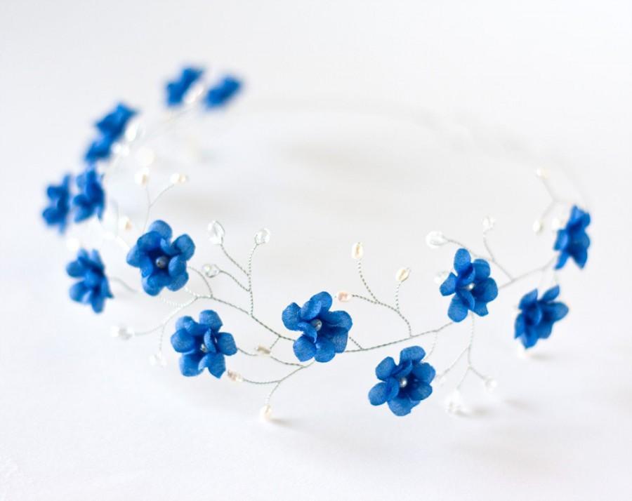 Wedding - 51_Tiara, Deep blue wedding hair accessory, Floral tiara, Bridal tiara, Silver tiara, Flower crown,Pearl wedding flower tiara,Flower tiara