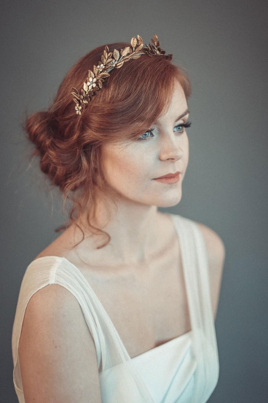 Wedding - Gold leaf tiara - Laurel leaf flower crown - Grecian wreath - Bridal leaf crown - Bridal headpiece - Greek goddess hair accessory
