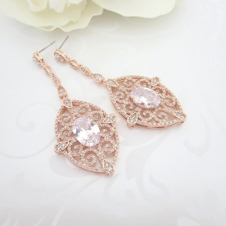 Long Rose Gold Earrings Bridal Crystal Wedding Jewelry Vintage Style Statement