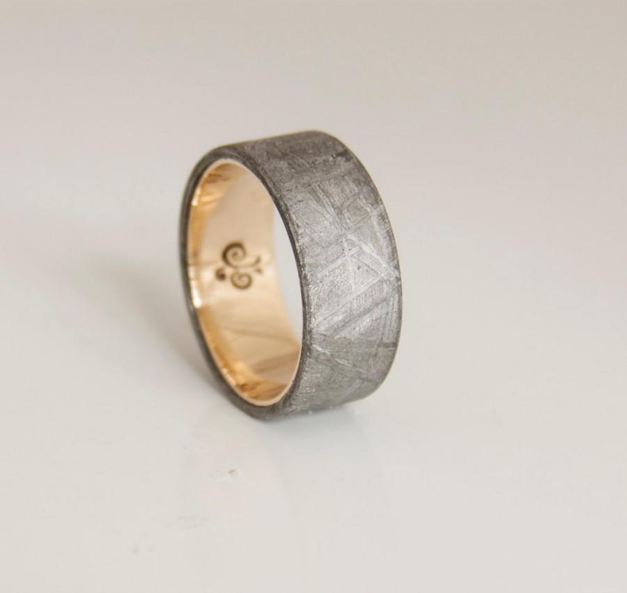 Mariage - meteorite ring flat band wedding ring yellow gold gebeon ring