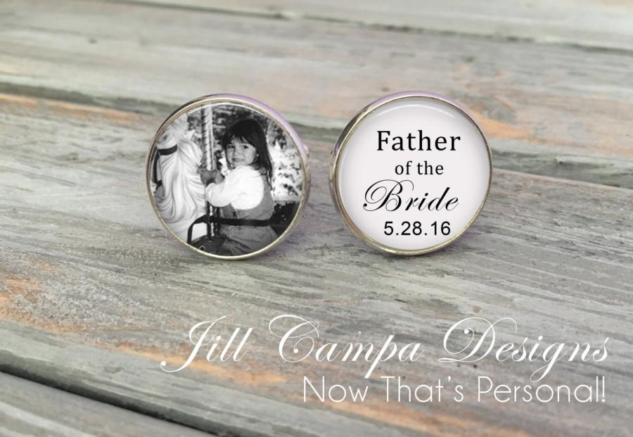 Mariage - Father of the Bride Cufflinks - Custom Photo Cuff Links - Silver Wedding Cufflinks - Picture Cuff Links - Father of the bride cuff links