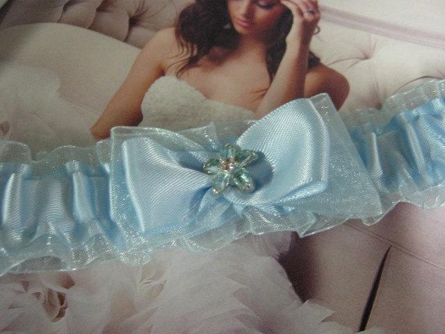 Hochzeit - Pretty Blue Satin and Organza Garter