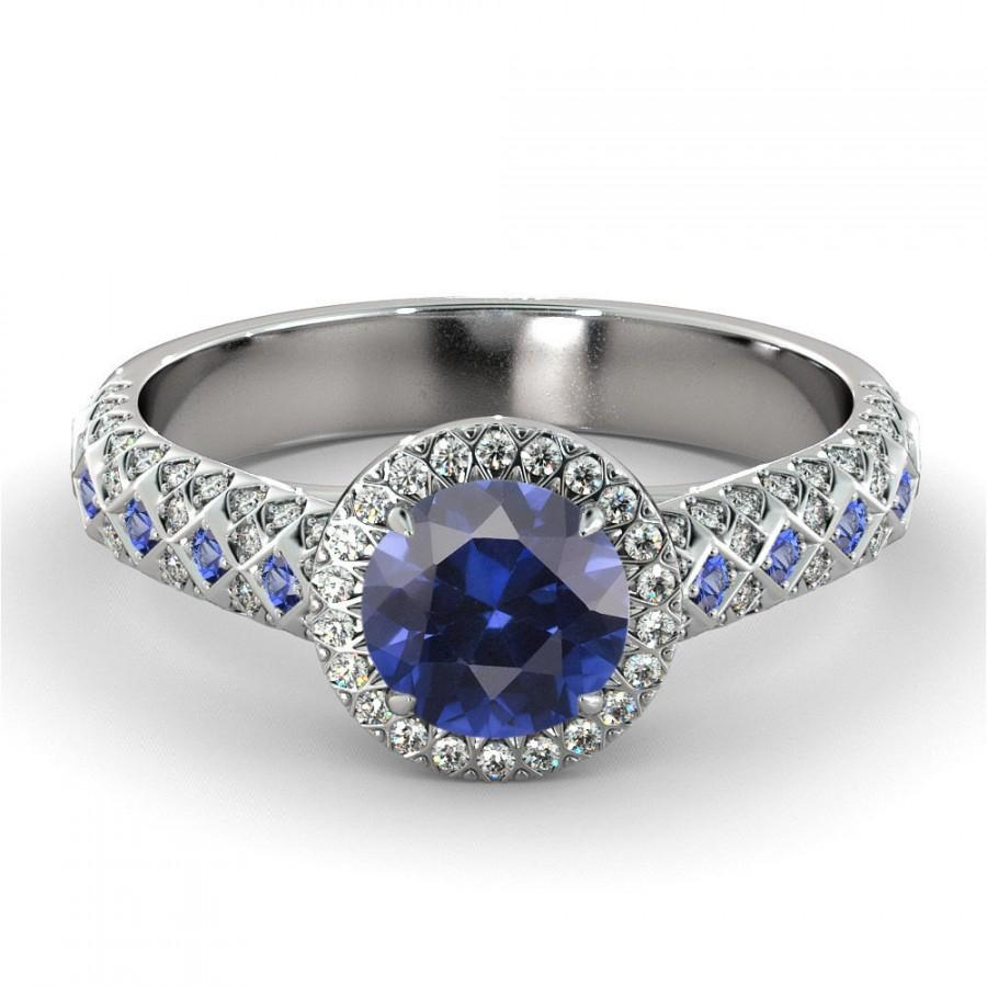 Halo Sapphire Engagement Ring 14k White Gold Natural Diamonds Natural Sapphi