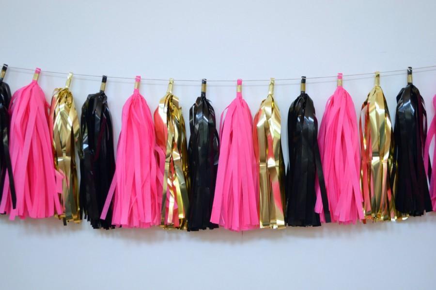 Bachelorette Party Tel Garland Paris Themed Decor Black Gold Hot Pink Banner