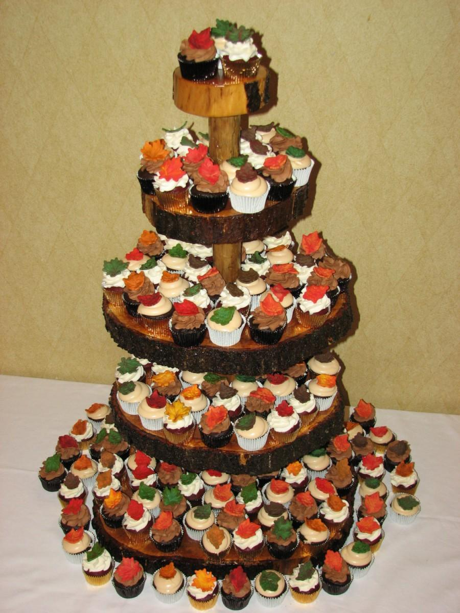 Mariage - 5 Tier Cupcake Stand- Rustic Log Slice Cupcake Stand