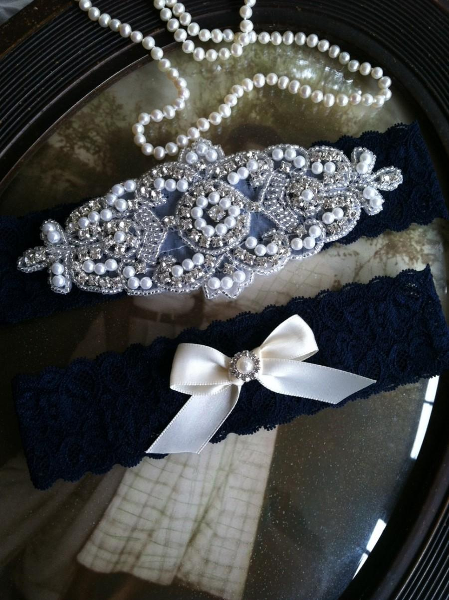 Hochzeit - SALE-Wedding Garter-Garters-Stretch lace-navy blue-something blue-Garter-Rhinestone-Pearl garter-Keepsake-Gray-Lace Garter-bridal garter