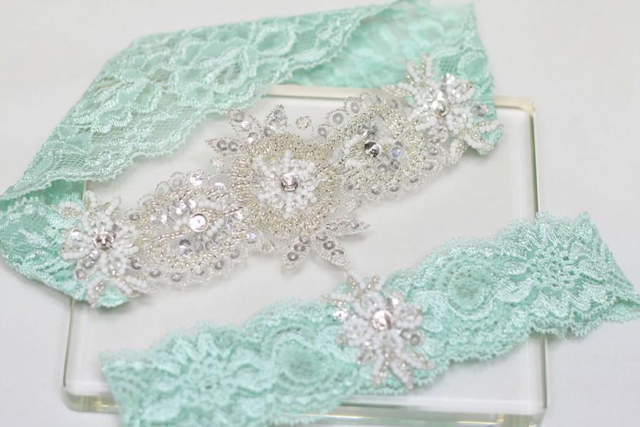 Свадьба - Mint green garter set, wedding bridal garter set, lace garter set,wedding garter set
