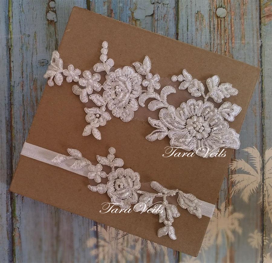 Wedding - Wedding garter, Bridal garter, Off White, Ivory Garter, wedding garters, bridal garter set/ Floral lace garter, Vintage Garter, Garter set