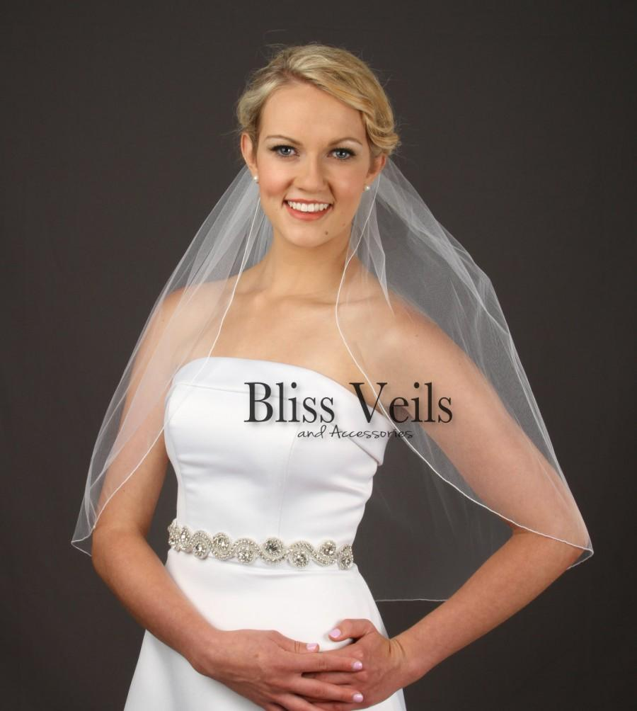 Wedding - Pencil Edge Wedding Veil, Elbow Length Bridal Veil, 1 Layer Veil