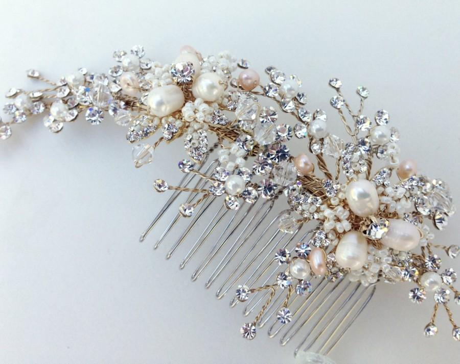 Свадьба - Crystal and Pearl Bridal Hair Comb, Wedding Hair Comb, Ivory & Champagne Pearl, Crystal Hair Comb, Swarovski Crystal, Bridal Headpiece,