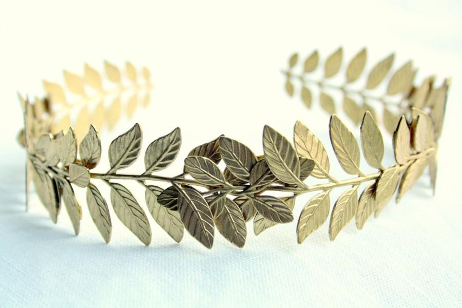 Свадьба - ATHENA Grecian Leaf Headpiece in Raw Brass