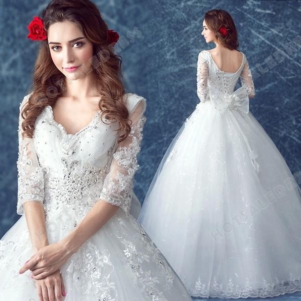 Mariage - Princess Lace Deep V-neck Diamond Long-sleeved Floor-Length Wedding Dress 2016 New