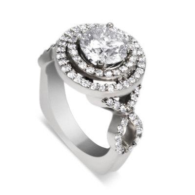Mariage - DIAMOND ENGAGEMENT Ring 2.18 ct. tw. Double HALO Platinum Ring w 1.51 ct Round Diamond center stone