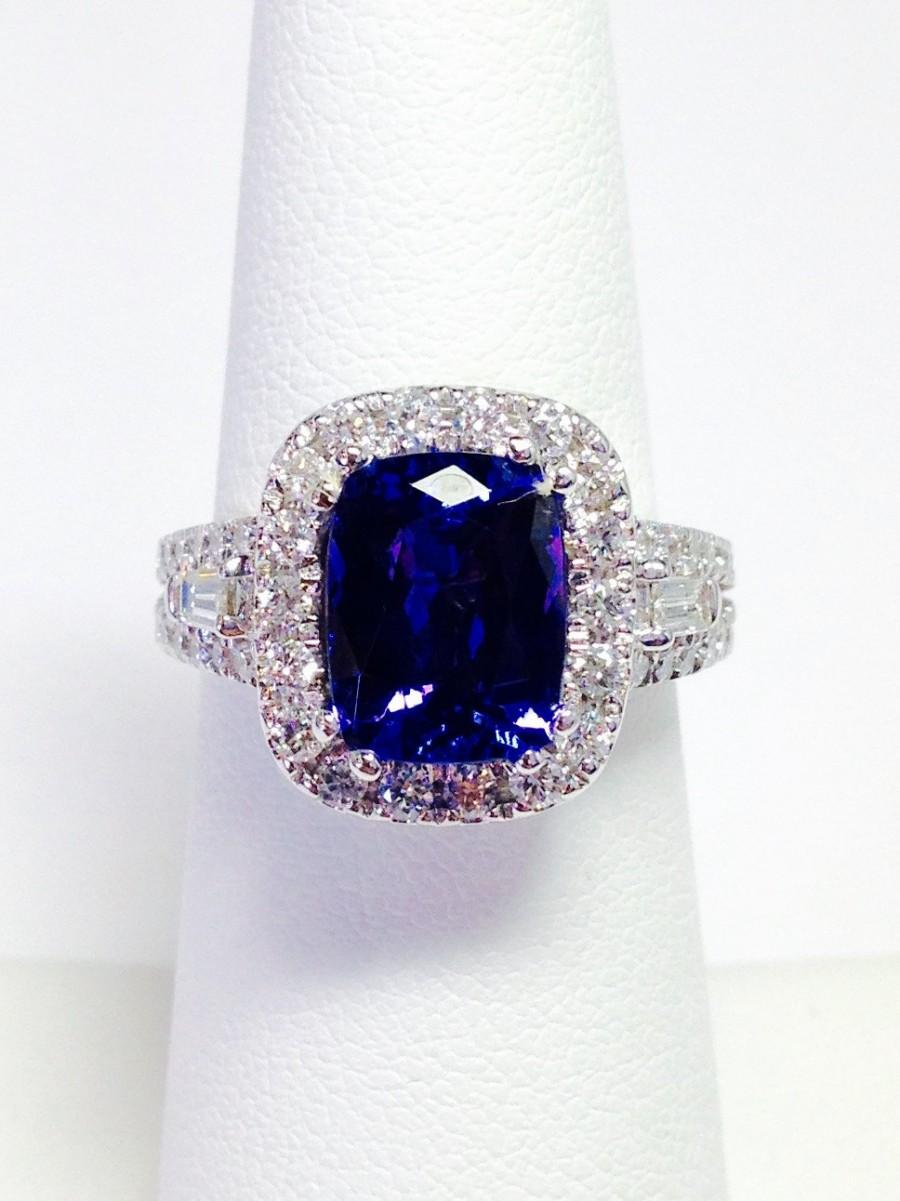 Tanzanite Color Stone Ring Cushion Halo Art Deco Diamond Engagement Rings  Anniversary Wedding Bands Platinum 18k 14k White Yellow Rose Gold