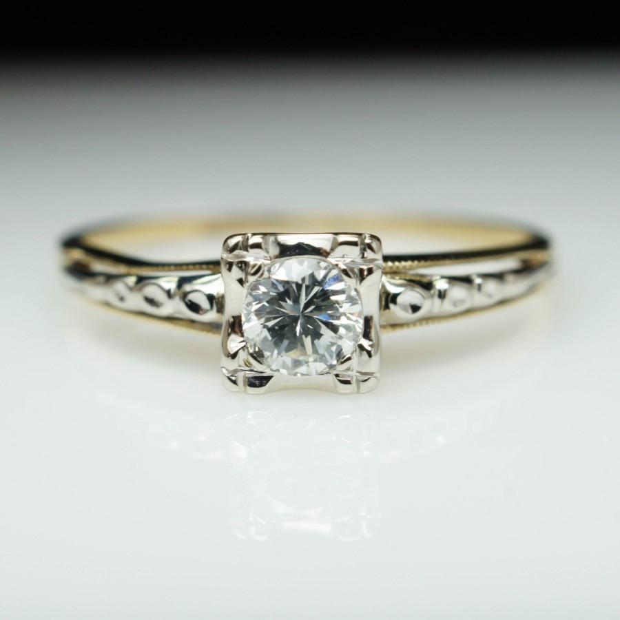 1940s vintage art deco ring white & yellow gold diamond engagement