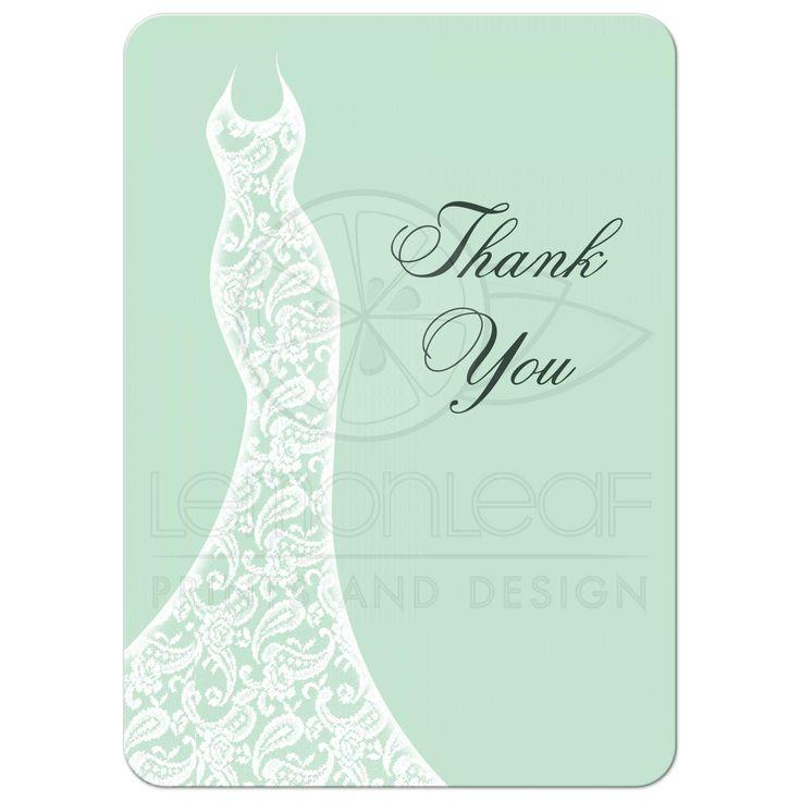 Wedding - Bridal Shower Thank You Card - Beautiful Mint