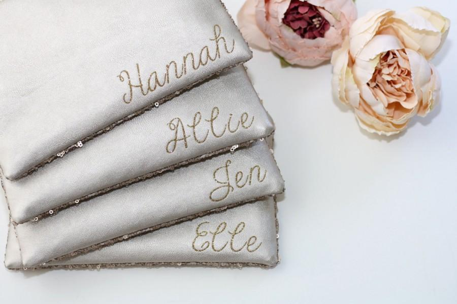 Wedding - Monogram Sequins Bridesmaid Gift Set - Champagne Sequins and Leather with Name or Monogram Customization - Personalized Sparkly Clutch Bags