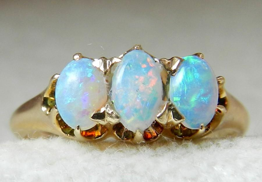 Wedding - Opal Ring Opal Engagement Ring 14K Three Stone Ring Gold Past Present Future Unique Engagement, October Birthday