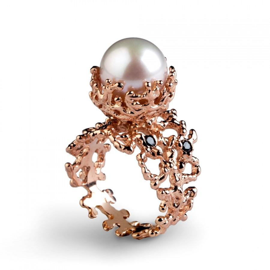 Coral Black Diamond Ring, Rose Gold Engagement Ring, Pearl Engagement Ring,  Rose Gold Pearl Ring, Black Diamond Rose Gold Ring Band